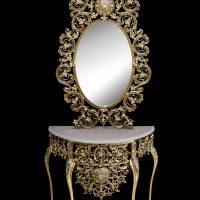 میز و آینه برنزی مدل بیضی ۷۰ قلوه ای