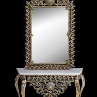 میز و آینه برنزی مدل چهارگوش ۱۲۰ یاس انتیک