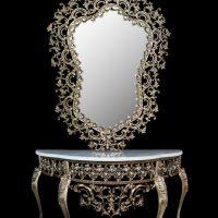 میز و آینه برنزی مدل محرابی ۱۳۰ مانلی دوبل