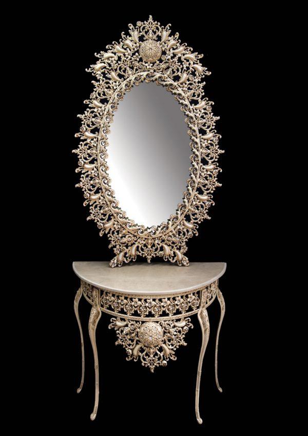 میز و آینه برنزی مدل بیضی ۹۰ گل میوه ای دوبل