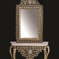 میز و آینه برنزی مدل چهارگوش ۱۲۰ یاس