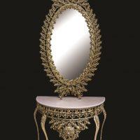 میز و آینه برنزی مدل بیضی ۱۲۰ یاس دوبل