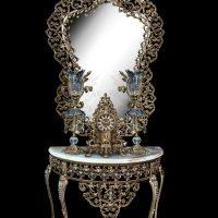 میز و آینه برنزی مدل محرابی ۱۲۰ آبنوس