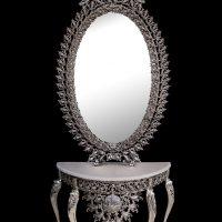 میز و آینه برنزی مدل بیضی ۹۰ یاس دوبل یاس