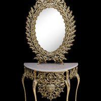 میز و آینه برنزی مدل بیضی ۷۰ یاس دوبل یاس
