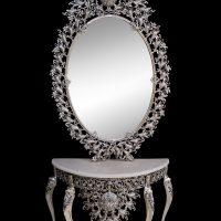 میز و آینه برنزی مدل بیضی ۱۲۰ بادمجانی