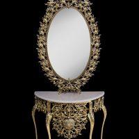 میز و آینه برنزی مدل بیضی ۷۰ بادمجانی